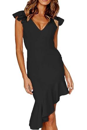 0c0a9a0c0cb QINSEN Women Evening Dress Elegant V Neck Ruffle Sleeveless Bodycon Bandage  Fishtail Dresses Black S