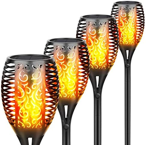 Solar Torch Light Outdoor, 96 Led Tiki Torches with Flickering Flame, Waterproof Landscape Garden Pathway Decoration Lighting with Auto On/Off Dusk to Dawn