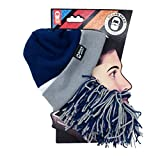 Beard Head Tailgate Dallas Knit Beanie w/ Beard Hat (Blue & Grey)