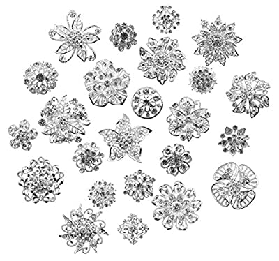 Zakia Lot 24pcs Crystal Flower Bridal Brooch Pin Brooches Silver