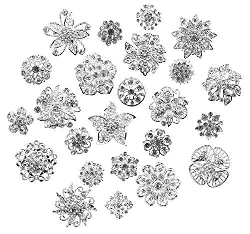 Zakia Lot 24pcs Crystal Flower Bridal Brooch Pin Brooches ()