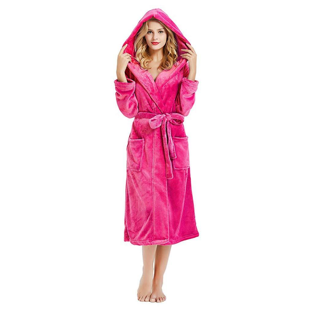 ❤️ Womens Long Sleeve HoodedLengthened Coat Fleece Robes, Soft Warm Plush Bathrobe Robe for Spa Shower (S, Red)