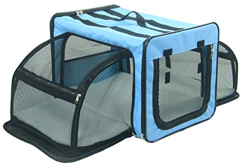 PET LIFE 'Capacious' Dual-Sided Expandable Spacious Wire Folding Collapsible Lightweight Pet Dog Crate Carrier House, X-Small, Light Blue For Sale