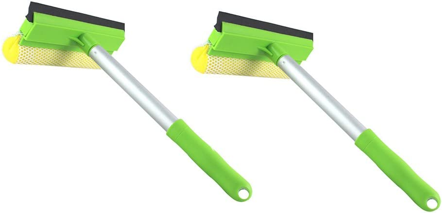 2 in 1 Window Cleaning Mesh Scrubber and Professional Window Squeegee Washing Tools of Car Glass Cleaning (Squeegee with Handy Pole(Set of 2)