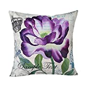 Vovomay Home Purple Flower Style Home Decorative Flax Throw Pillow Cover Cushion Case Square Pillowslip For Home Decor 18 X 18'' (Flower-B)