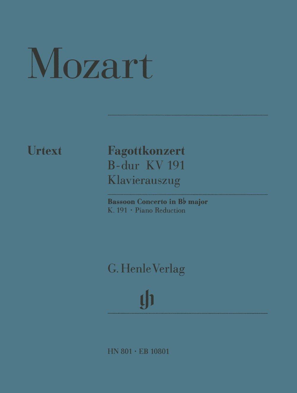 Concerto Basson No1 KV191 Sib Majeur --- Basson/Piano (Anglais) Partition – 1 janvier 2009 Mozart Wa Henle Verlag B000FDJ1HU HN 801
