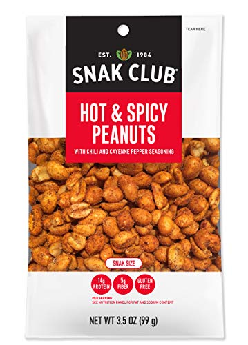 Snak Club All Natural Hot & Spicy Peanuts, Gluten Free, Non-GMO, 3.5-Ounces, 12-Pack