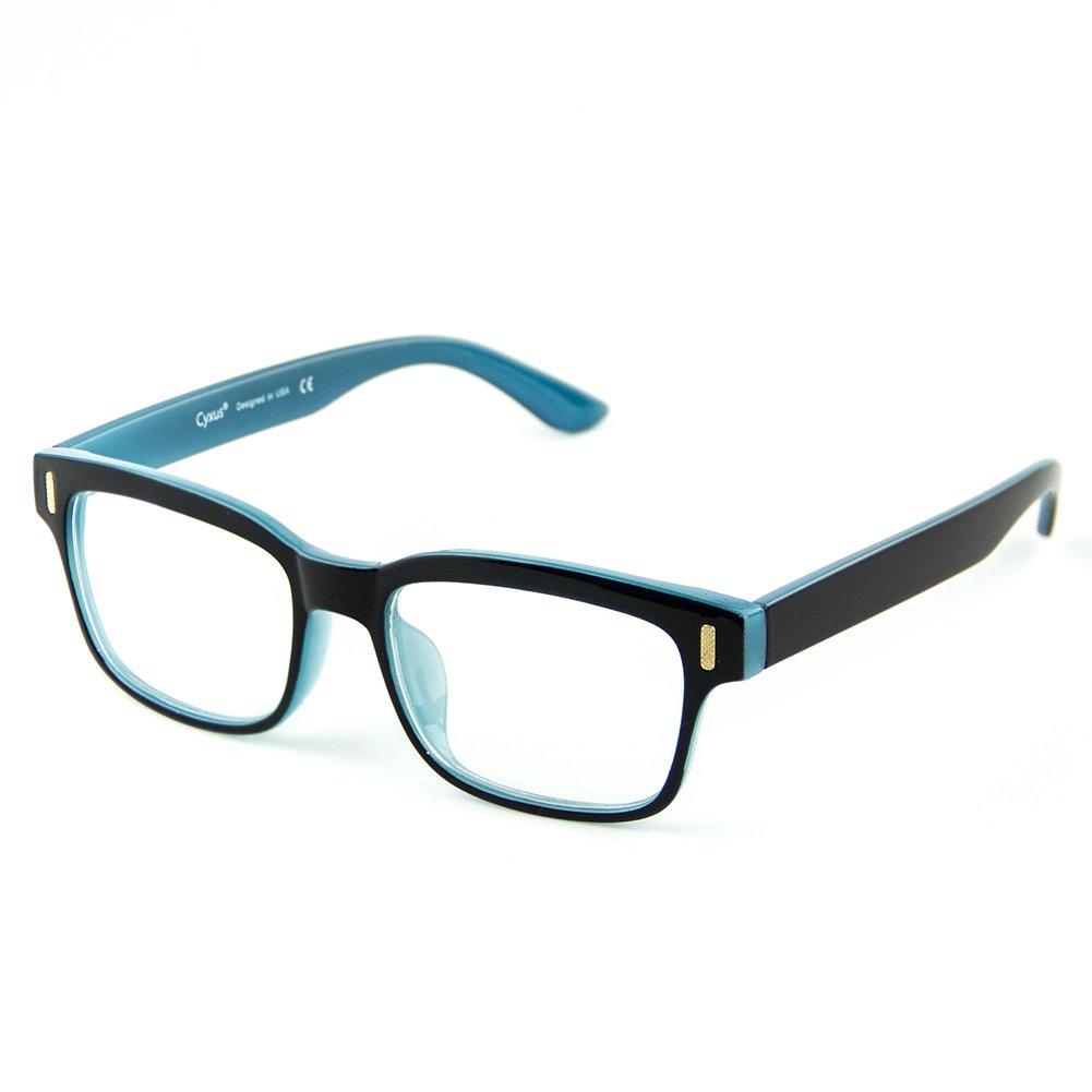 Cyxus Blue Light Blocking Computer Glasses for Anti Eye Strain UV Transparent Lens Black Frame Reading Glass Unisex (Men/Women) (Blue and Black Frame)