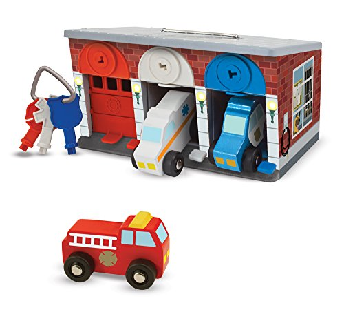 Melissa & Doug Keys & Cars Wooden Rescue Vehicle & Garage Toy, Emergency Vehicles, Great for Motor Skill Development, Color-Coded Keys, 7.75