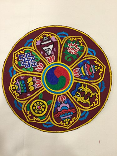 Tibetan Buddhism eight auspicious symbol round placemat / altar cloth /table cover by Tibetan handloom