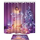 NYMB Christmas Decor, Xmas Tree and Fireplace Full with Lights and Sock, 69X70in Mildew Resistant Polyester Fabric Shower Curtain Set With 15.7x23.6in Flannel Non-Slip Floor Doormat Bath Rugs