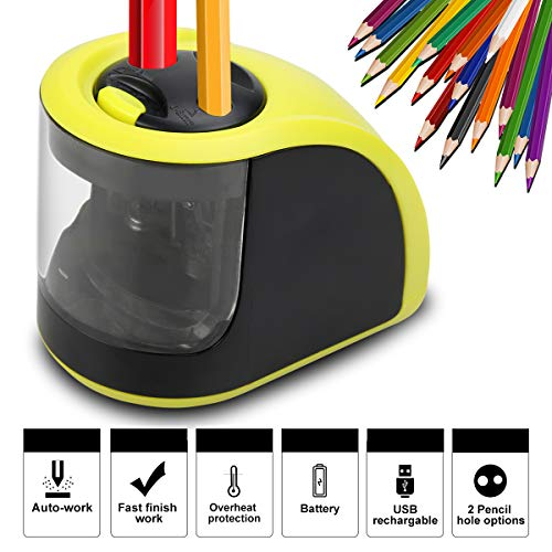 Electric Pencil Sharpener - Rechargeable Pencil Sharpener with USB or Battery Operated - 2 Holes(6-8mm & 9-12mm) - Perfect Gift for Kids, Artist, Student, Professionals (batteries not included) by Li