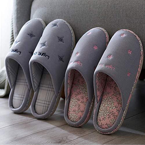 Tissu SFHK Ultra Chaussons Chaud Unisexe Tongues Intérieur Chaussures Mémoire Garder Doux Lavable Hiver L'automne Mousse Tricoté Au Pink Carreaux À 7rtgqwrW