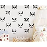 JOYRESIDE 36 Pieces/Set Cute Panda Wall Decals Vinyl Sticker For Kids Boy Girl Baby Bedroom Decoration Art Remobable Decor YMX09 (Black)