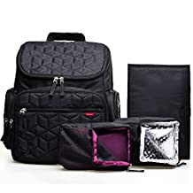 Bebamour Nappy Changing Bag Backpack Waterproof Diaper Bag with 1 Changing Pad Diaper Backpack ,Black