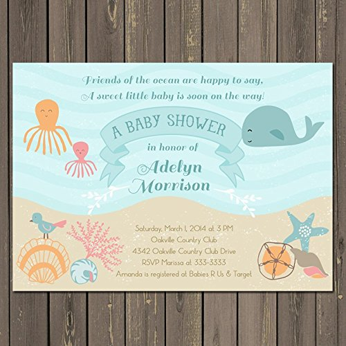Ocean Baby Shower Invitation, Under the Sea Baby Shower Invite, Sea Baby Shower, Whale, Octopus, Shells, Beach, Gender -