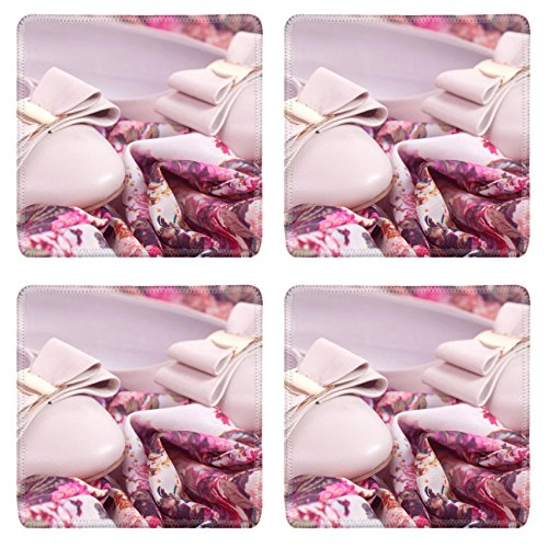 Allure Footwear (Liili natural rubber Square Coasters IMAGE ID: 19706870 Comfortable shoes on flower background)