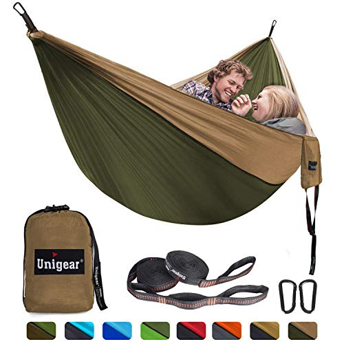 Unigear Camping Hammock Double and Single, Portable Lightweight Parachute Nylon Hammock with Tree Straps for Backpacking, Camping, Travel, Beach, Garden (Khaki/Army Green, 320x200)