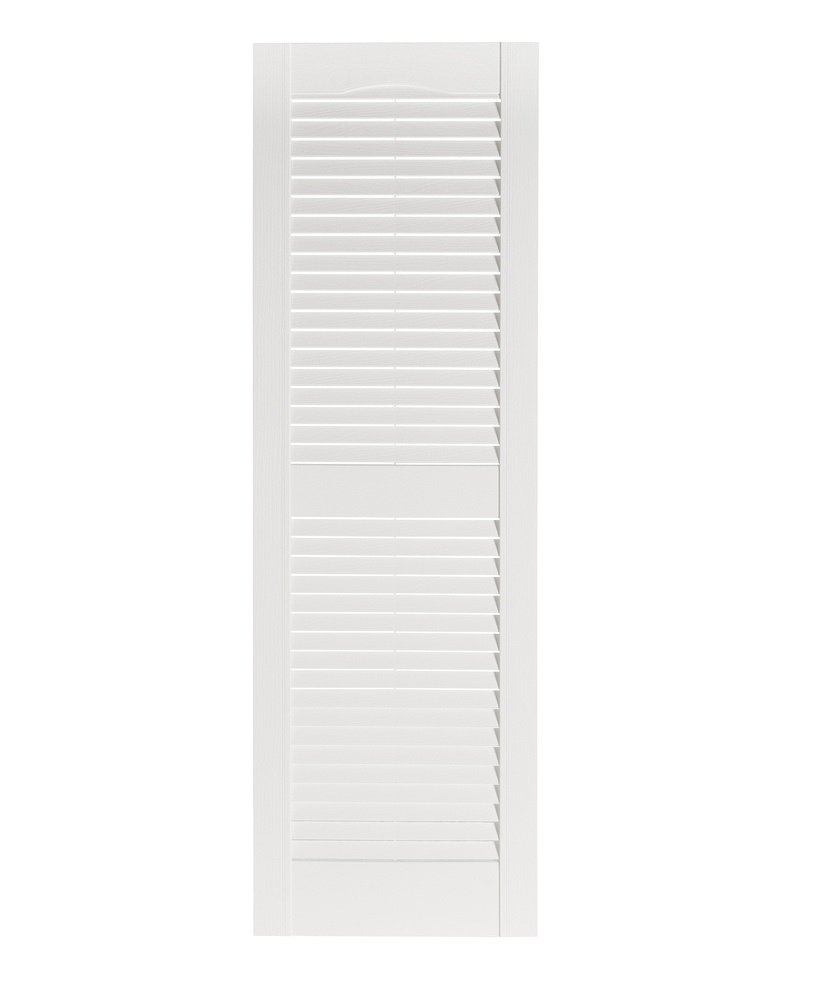 Perfect Shutters Premier Louver Exterior Decorative Shutter, 15'' x 51'', White