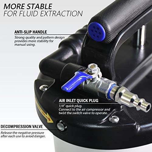 FIRSTINFO Made in Taiwan 9.5L Pneumatic and Manual Operation Oil or Fluid Extractor with 4 pcs Hoses by FIT TOOLS (Image #5)
