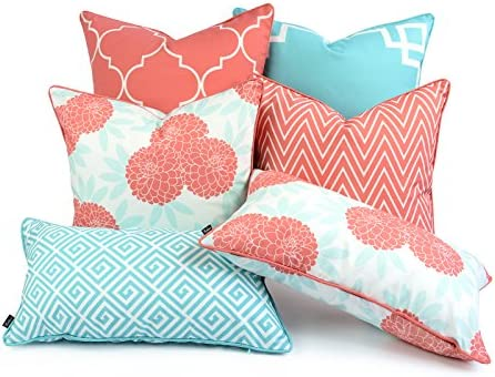 Hofdeco Spring Indoor Outdoor Pillow Cover ONLY, Water Resistant for Patio Lounge Sofa, Aqua Coral Pink Greek Key Moroccan Chevron Maze Floral, 18 x18 20 x20 12 x20 , Set of 6