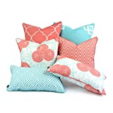 Hofdeco Decorative Throw and Lumbar Pillow Cover Indoor Outdoor Water Resistant Canvas Spring Aqua Coral Pink Greek Key Quatrefoil Chevron Maze Chinoiserie Floral 18''x18'' 20''x20'' 12''x20'' Set of 6