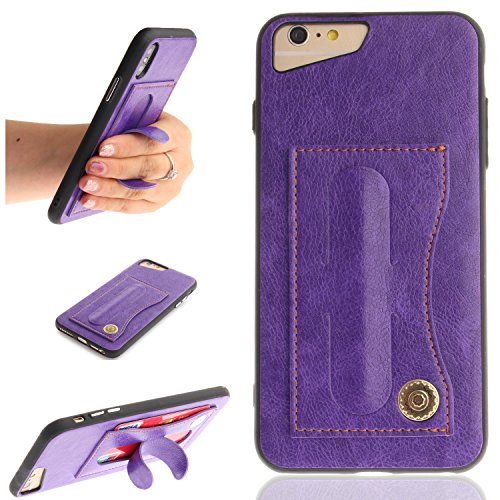 iPhone 8 Plus Case, iPhone 7 Plus Case, Easytop Premium Pu Leather Hidden Stand Feature Protective Shell Cover Case with ID & Credit Card Holder Slot for iPhone 8 Plus iPhone 7 Plus (Purple) ()