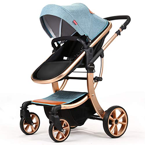 Baby Stroller Compact Reversible Bassinet Pram Strollers Foldable Citi Carriage All Terrain Convenience Pushchair Lux Boy Girl Stroller for Infant and Toddler (Blue)