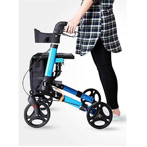 Stand Up Rollator Walker, Adjustable Handle Height with Upholstered Seat and Lower Basket Auxiliary Walking Safety Walker (Size : Blue-A) by YL WALKER (Image #6)