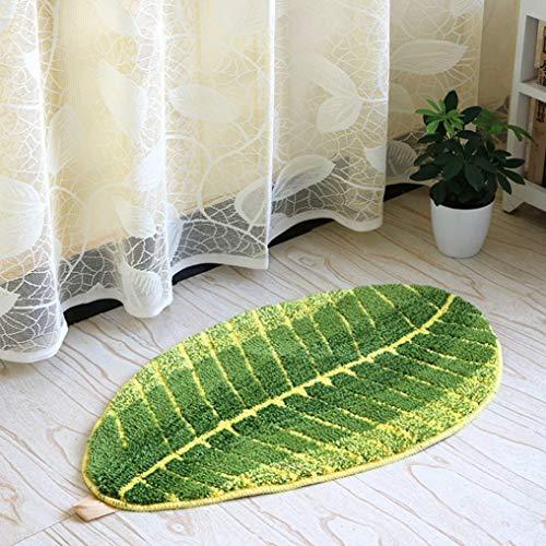 (Dal-Msee Creative Leaf Shape Green Microfiber Carpet for Living Room Non-Slip Child's Room Rug)