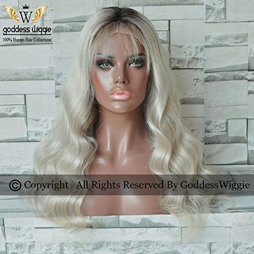 Ombre Sliver Gray Human Hair Lace Front Body Wavy Wigs For Women Fashion Style Ombre Human Wigs (18inch 130density) by Goddess