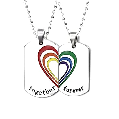 ff42fbd510 Fashionsupermarket 2pcs Gay LGBT Lesbian Couples Stainless Steel Rainbow  Heart Maching Dog Tag Necklace