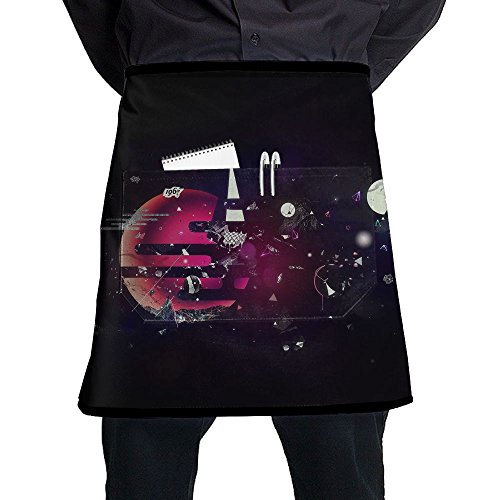 Waist Short Apron Half Chef Apron With Pockets Fantasy Fragments Planet Print Home Kitchen Cooking Pinafore For Bistro Restaurant Cafe Pub BBQ Grill -