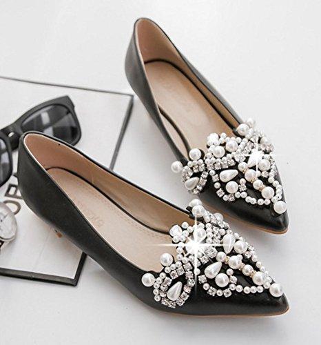 Easemax Élégant Strass Perles Perlées Faible Chunky Talon Bas Top Slip Sur Les Chaussures Bout Pointu Chaussures Noir