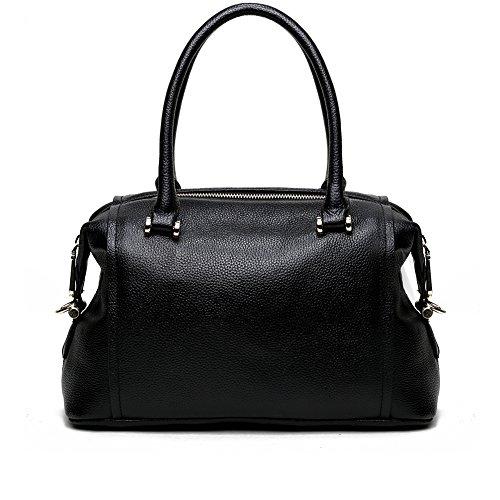 Zebella New Office Lady Fashion Genuine Leather Handbag Crossbody Top-handle Shoulder Tote Bag Bag9923dy-black