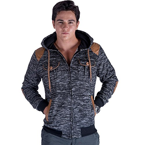 Men's Casual Leather Patch Fleece Zip Up Hoodie Sweatshirts Dark Grey M Shoulder Fleece Sweatshirt