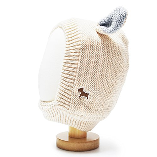 HappyTree Kids Baby Winter Warm Fleece Knit Earflap Hood Hat Beige