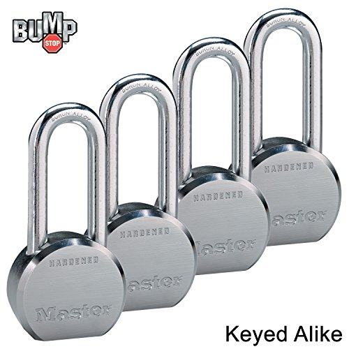 Four High (Master Lock - (4) High Security Pro Series Keyed Alike Padlocks 6230NKALH-4 w/ BumpStop Technology)