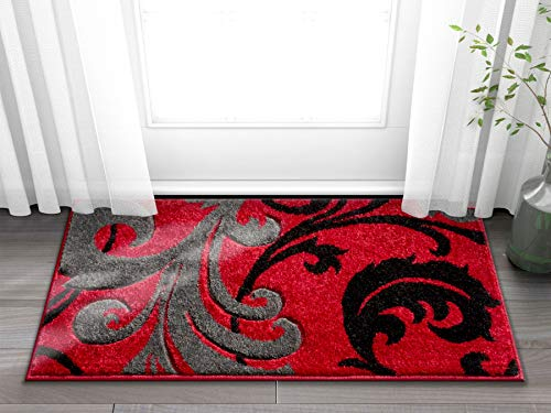 Doormat Ruby Kitchen Bathroom Soft Durable Accent Rug Small Carpet Scatter Entry Mat Easy to Clean Modern Woven Hearth Mat Red 1'8