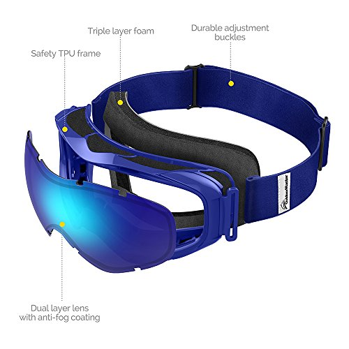 513A13OVmRL - OutdoorMaster OTG Ski Goggles - Over Glasses Ski / Snowboard Goggles for Men, Women & Youth - 100% UV Protection