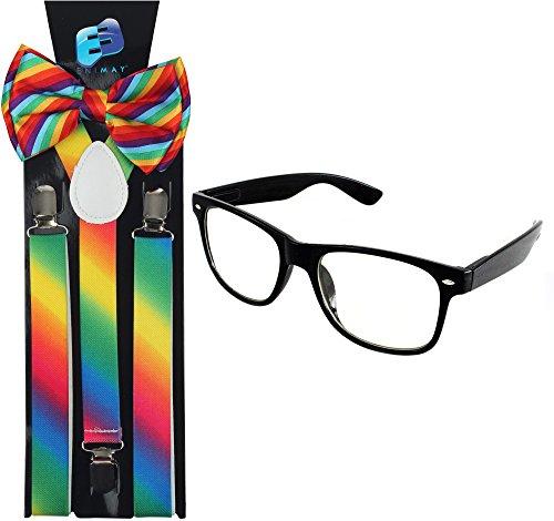 Enimay Suspender Bowtie Wayfarer Clear Glasses Nerd Costume Halloween Rainbow