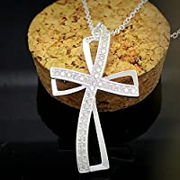 by lucky Fashion Crystal Rhinestone 925 Sterling Silver Two Cross Pendant Necklace