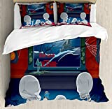 Ambesonne Movie Theater Queen Size Duvet Cover Set, Family of Skeletons Sitting on a Sofa and Watching a Fantastic Movie at Home, Decorative 3 Piece Bedding Set with 2 Pillow Shams, Multicolor