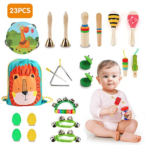 BeebeeRun 23PCS Kids Wooden Musical Percussion Instruments Sets, 12 Types Multifunctional Preschool Education Learning…