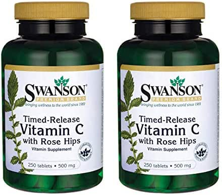 Swanson Timed-Release Vitamin C with Rose Hips Immune System Support Skin Cardiovascular Health Antioxidant Supplement 500 mg 250 Tablets (Tabs) (2 Pack)
