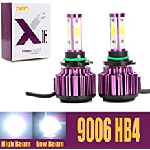 9006 HB4 LED Headlight Bulbs 20000LM 200W Cool White 6000K Replace Low Beam/High Beam/Fog Light 360 Degree 4 Side COB Chips Super Bright Auto Conversion Kit Plug & Play -2 Yr Warranty