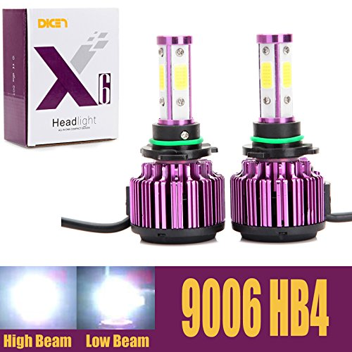 9006 HB4 LED Headlight Bulbs 20000LM 200W Cool White 6000K Replace Low Beam/High Beam/Fog Light 360 Degree 4 Side COB Chips Super Bright Auto Conversion Kit Plug & Play -2 Yr Warranty (Bulb Led 6000k 9006)