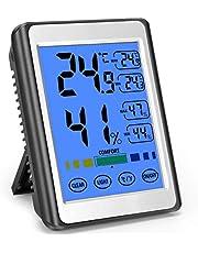MOSUO Termómetro Higrometro Digital Interior, Termohigrómetro para Casa Ambiente Medidor de Temperatura y Humedad con Retroiluminación, Registrando Máximo/Mínimo, Pantalla Táctil