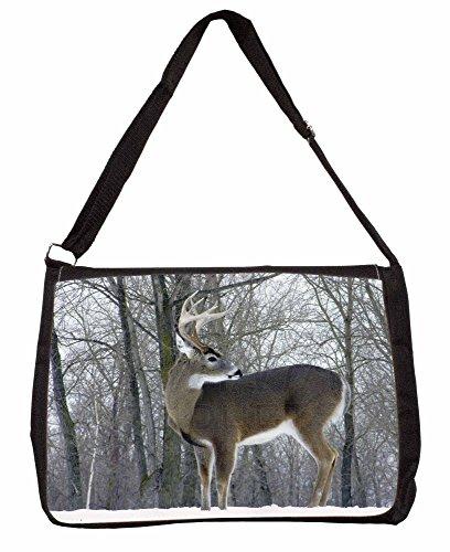 Deer Stag in Snow Large 16 Black School Laptop Shoulder Bag