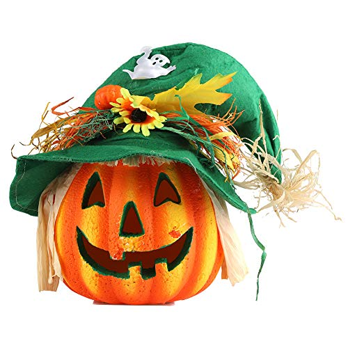(Zerodis LED Pumpkin Lamp Decorative Foam Halloween Props with Witch Hat Flower Ornament for Halloween Festival Party Decoration)